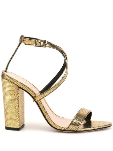 Schutz Lizard Metallic Sandals In Gold