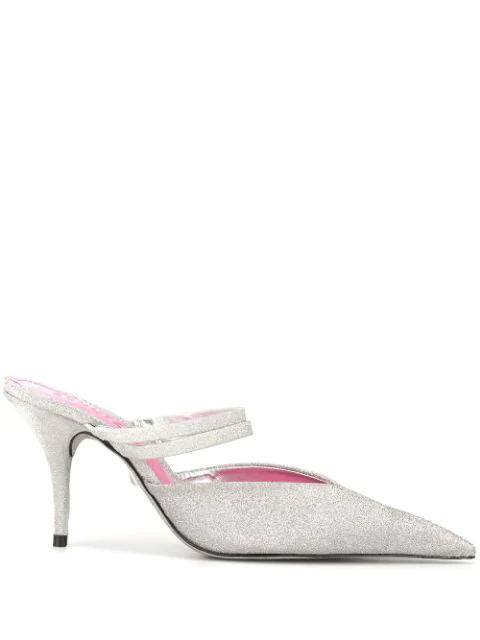 Schutz Mini Shine Mule Sandals In Silver