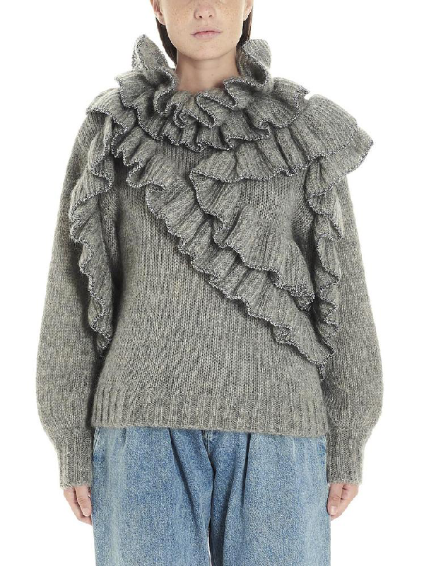 Alberta Ferretti Ruffle Trim Sweater In Grey