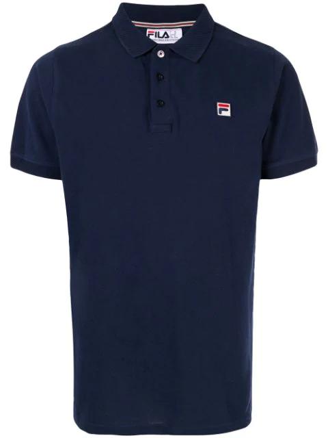 Fila Waffle Collar Polo Shirt In Blue