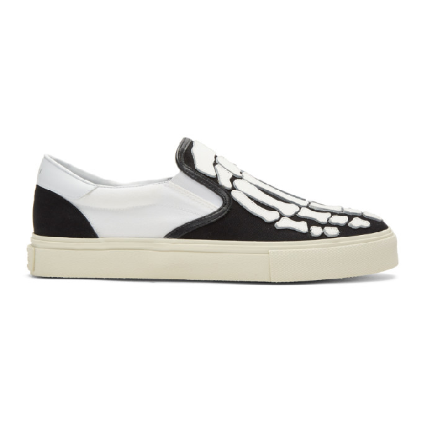 Amiri Skel Toe Leather-appliquÉd Canvas And Suede Slip-on Sneakers In Blkwht