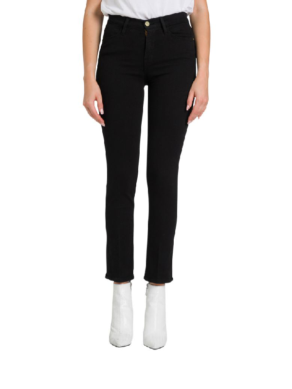Frame Stretcjh Jeans With High-rise In Nero