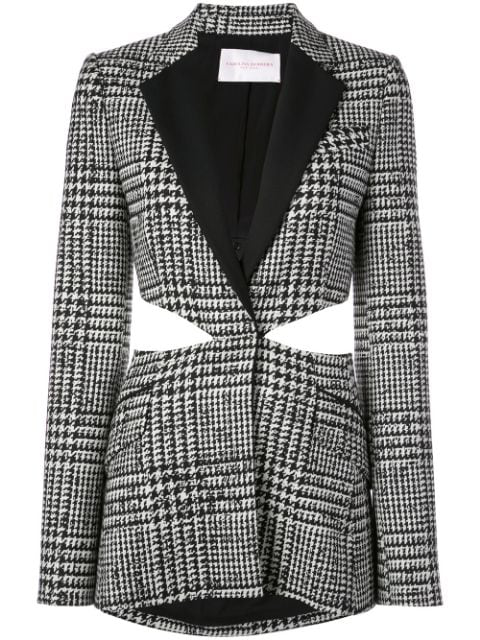 Carolina Herrera Cutout Crepe-trimmed Prince Of Wales Checked Wool And Silk-blend Blazer In Black