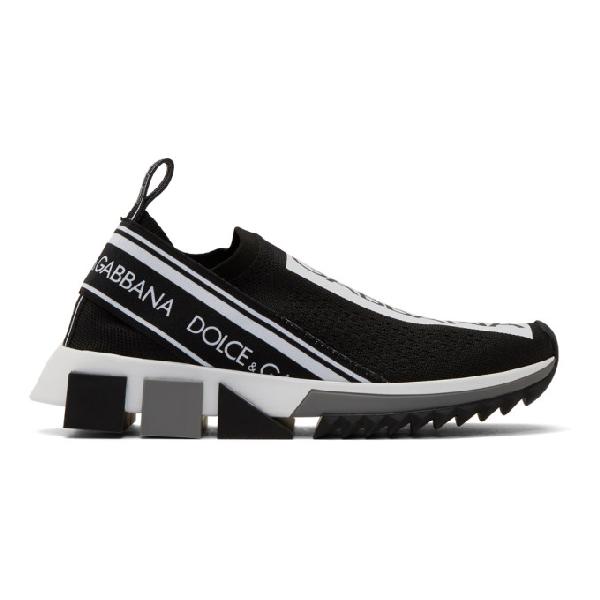 Dolce & Gabbana Dolce And Gabbana Black Sorrento Slip-on Sneakers In 89690 Black