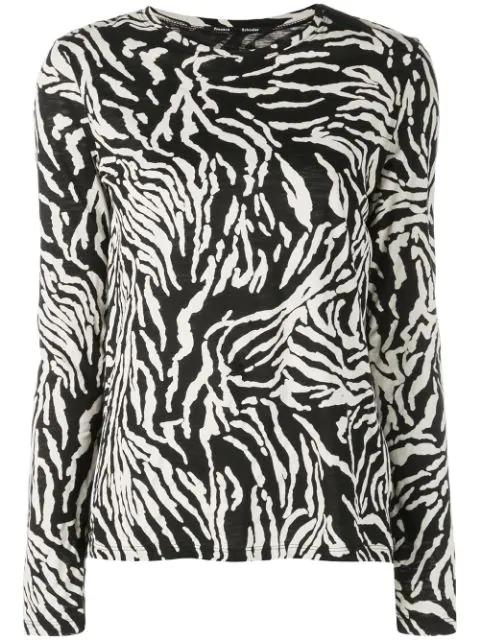 Proenza Schouler Zebra-print Cotton-jersey Long-sleeve T-shirt In Black ,neutral