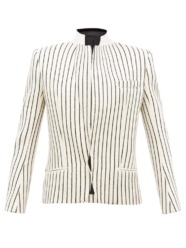 Haider Ackermann Velvet-collar Striped-jacquard Wool Blazer In Ivory
