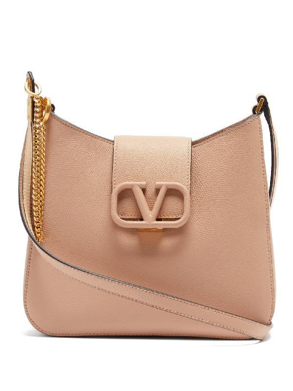 Valentino Garavani V-sling Small Grained-leather Shoulder Bag In Beige