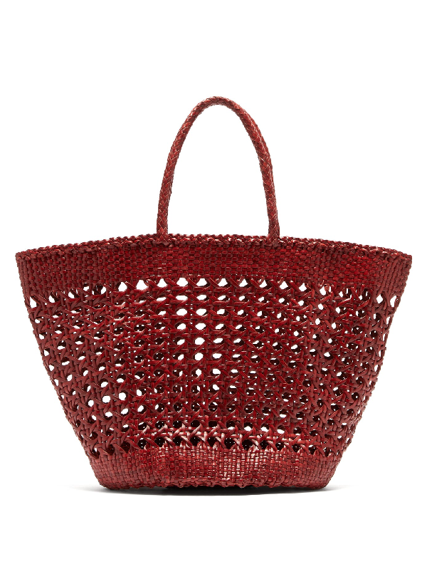 Dragon Diffusion Cannage Market Large Woven-leather Basket Bag In Burgundy