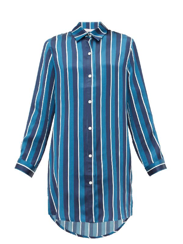 Derek Rose Brindisi 40 Striped Silk Nightshirt In Navy