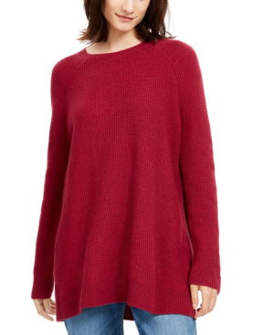 Eileen Fisher Bateau-neck Tunic Sweater In Hibiscus