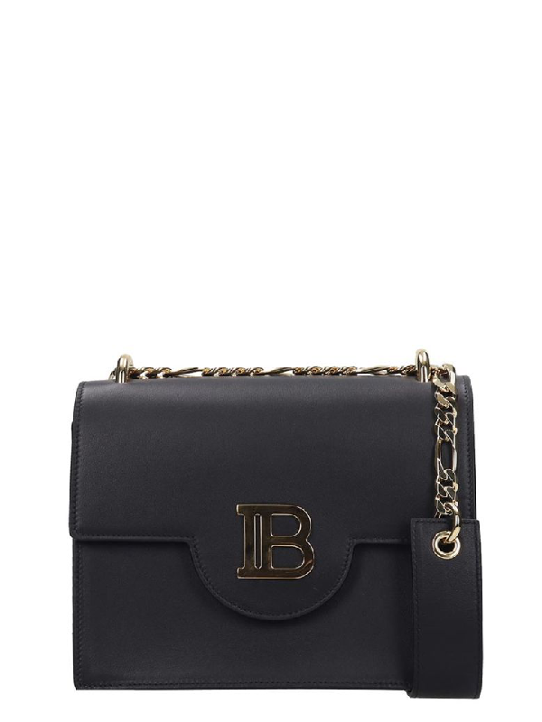 Balmain Shoulder Bag In Black Leather