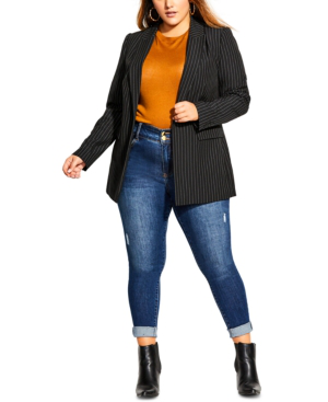 City Chic Trendy Plus Size Pinstriped Jacket In Black
