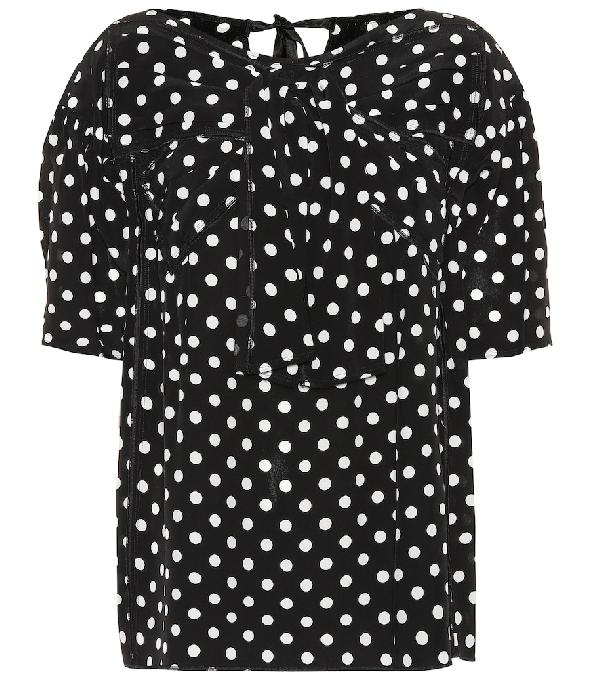 Marc Jacobs Polka Dot Silk Blouse - Blk, Wht