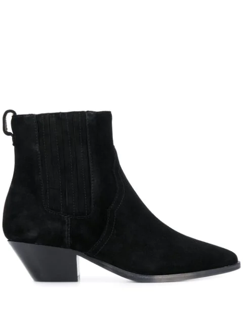 Ash Future Low Heels Ankle Boots In Black Suede
