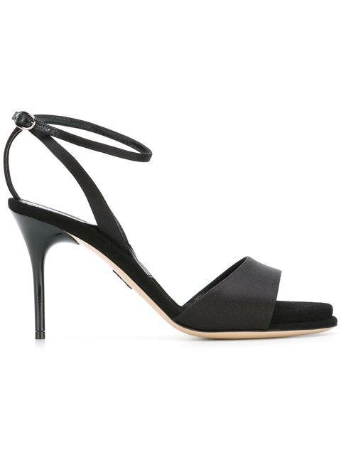Paul Andrew 'Clara' Acetate Heel Satin Strap Sandals In 900 Black