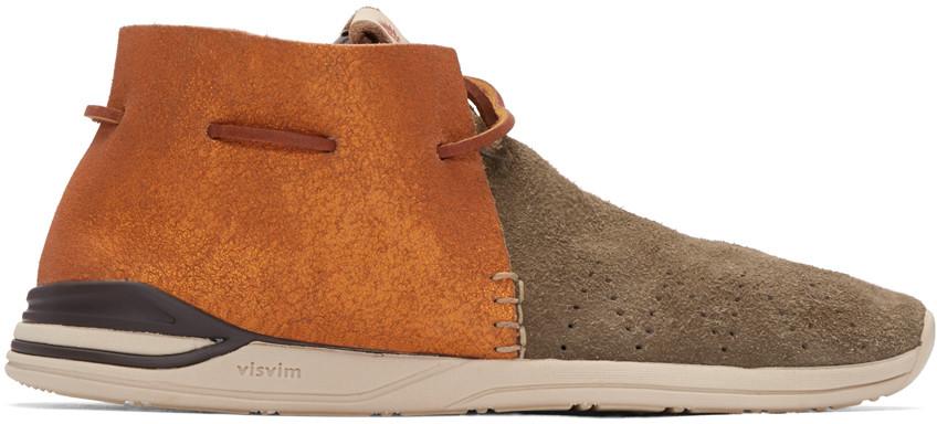 Visvim Huron Moc-Folk Suede & Leather Sneakers In Beige,Orange,Brown