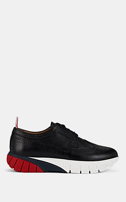 Thom Browne Longwing Brogue Sneakers In Black