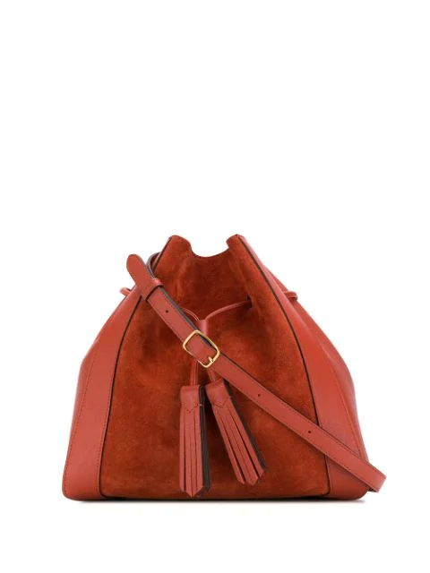 Mulberry Small Millie Suede & Leather Tote In Orange