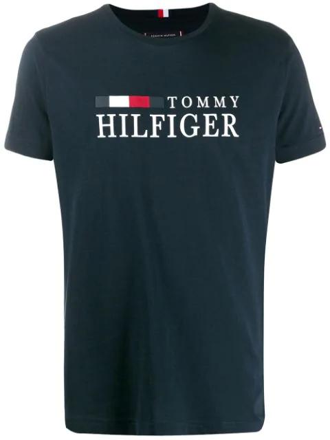Tommy Hilfiger Logo Print T In Cjm-sky Captain