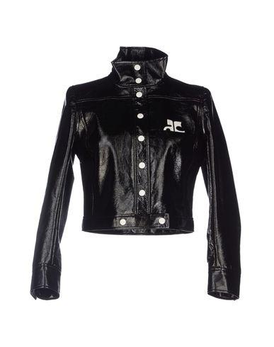 many fashionable super cheap biggest discount Blouson Court Vinyl Logo Blanc Jacket in Black