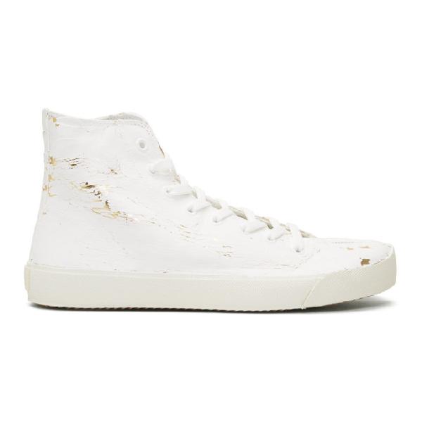 Maison Margiela White & Gold Tabi High-top Sneakers
