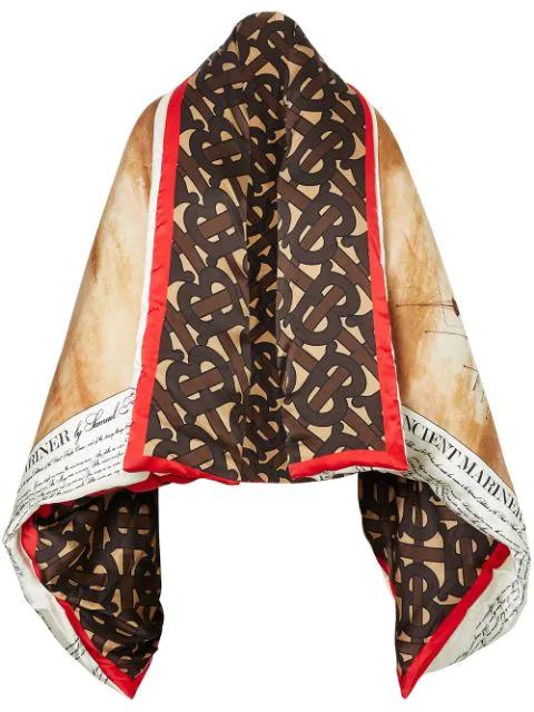 Burberry Mariner Print Silk Satin Oversized Puffer Cape In Brown