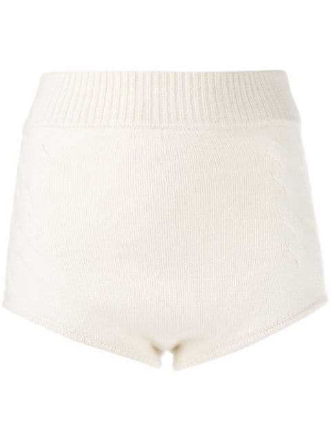 Cashmere In Love Knit Mimie Shorts In White