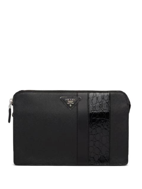 Prada Saffiano Leather Zipped Clutch In Black