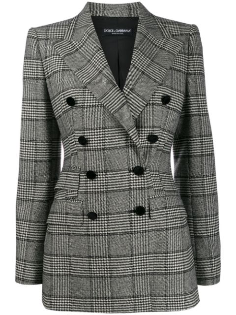 Dolce & Gabbana Prince Of Wales Double-breasted Blazer In Black