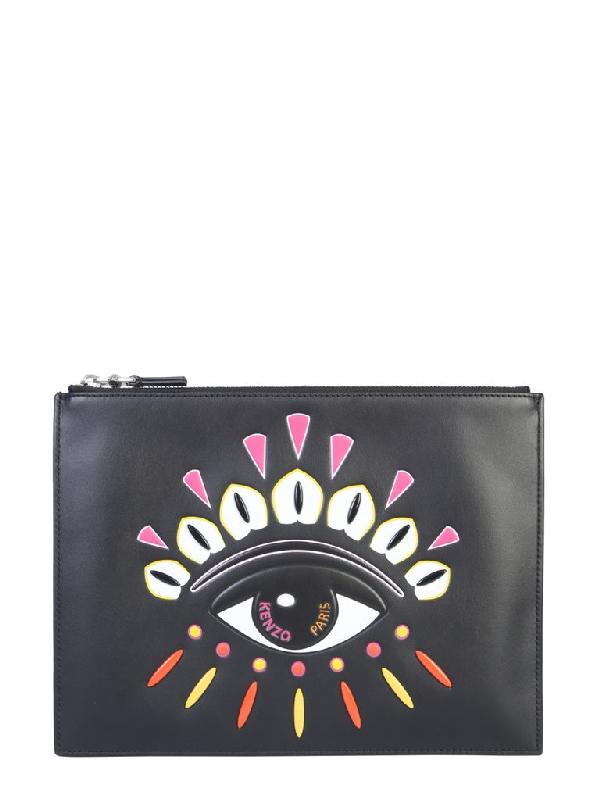 Kenzo Kontact Eye A4 Clutch Bag In Black