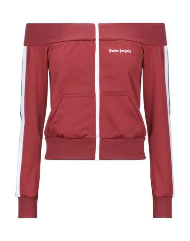 Palm Angels Off-shoulder Full-zip Sweatshirt In Burgundy
