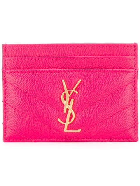 Saint Laurent Monogram Cardholder In Pink