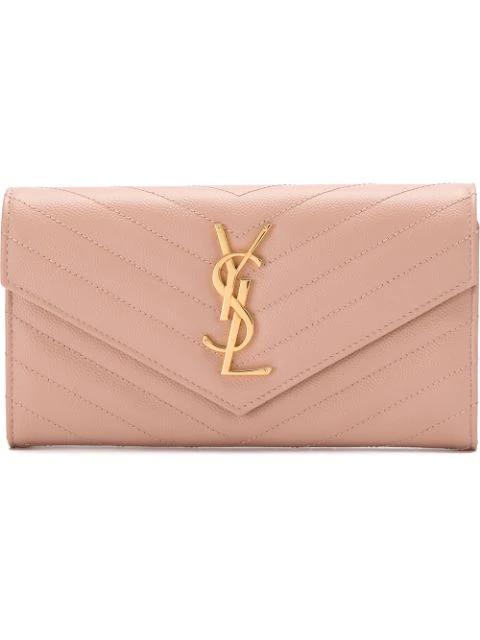 Saint Laurent Large Monogram Flap Wallet In Pink