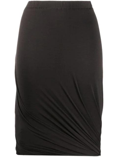 Lanvin 1990's Draped Skirt In Brown