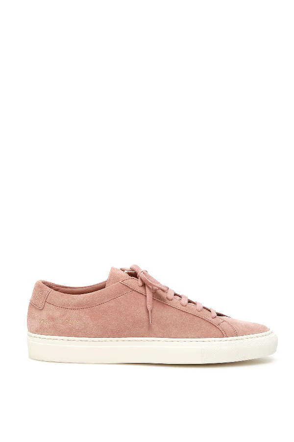 Common Projects Original Achilles Low Suede Sneakers In Pink,white