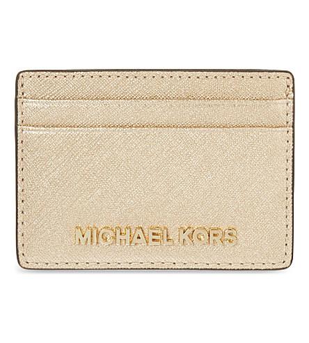 d6af989d2f8a Michael Michael Kors Jet Set Travel Leather Card Holder In Silver ...