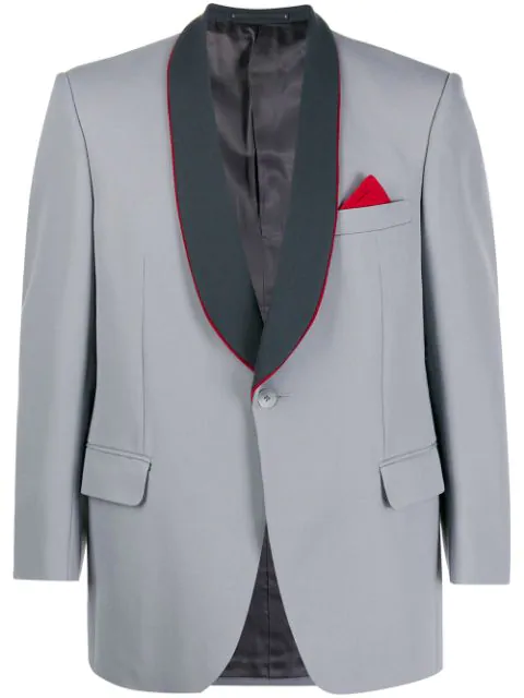 Pre-owned A.n.g.e.l.o. Vintage Cult 1970s Trunks' Shawl Lapels Contrasting Blazer In Grey