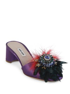 abf79f30d Miu Miu Crystal And Feather-Embellished Suede Mules In Petunia ...