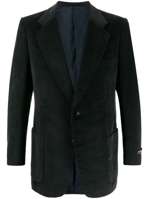 Pre-owned A.n.g.e.l.o. Vintage Cult 1970s Simon Ackerman's Corded Slim-fit Blazer In Black