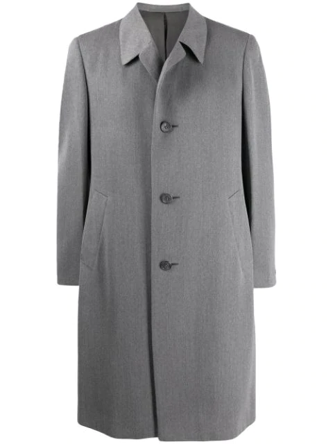Pre-owned A.n.g.e.l.o. Vintage Cult 1970s Simon Ackerman's Slim-fit Knee-length Coat In Grey