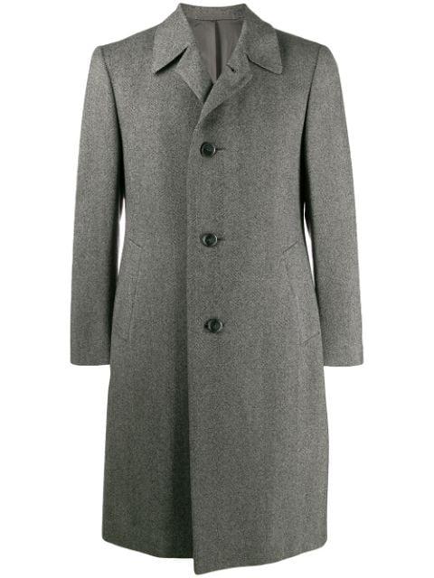 Pre-owned A.n.g.e.l.o. Vintage Cult 1970s Simon Ackerman's Slim-fit Knee-length Coat In Grey
