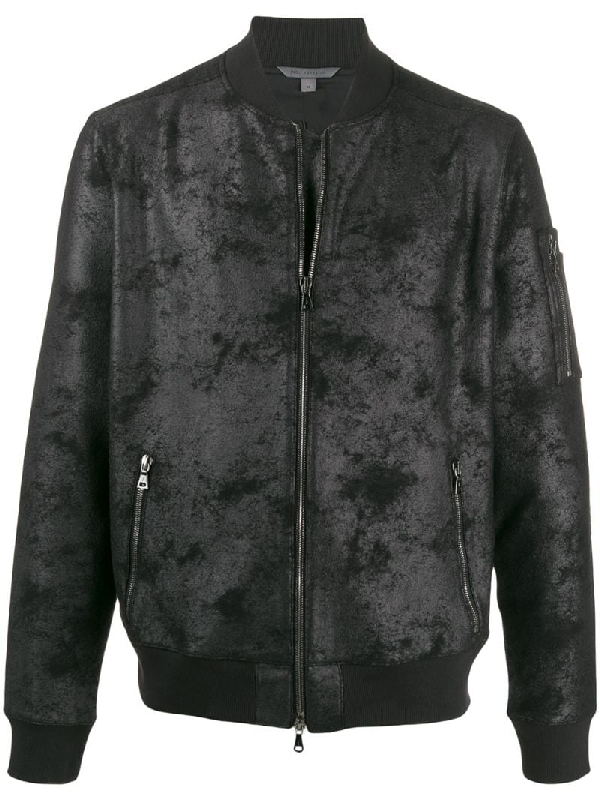 John Varvatos Coated Bomber Jacket In 1 Black