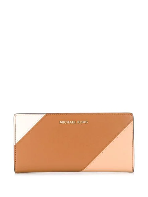Michael Michael Kors Colour Block Continental Wallet In Brown
