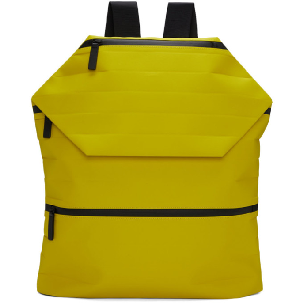 Issey Miyake Men Yellow Galette Backpack In 52.yellow