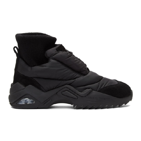 Maison Margiela Puffer Future Quilted Shell And Suede Sneakers In T8013 Black
