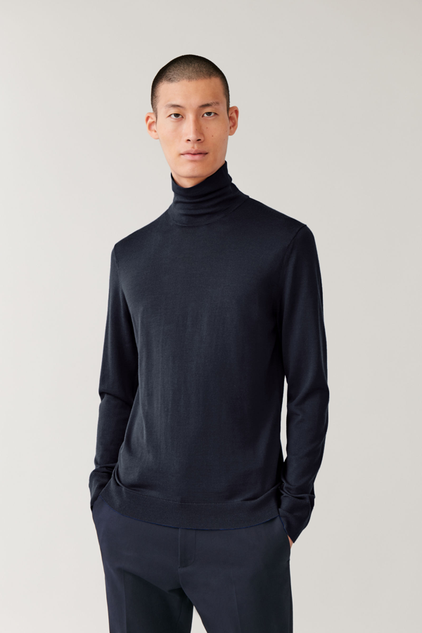 Cos Merino Roll-neck Jumper In Blue