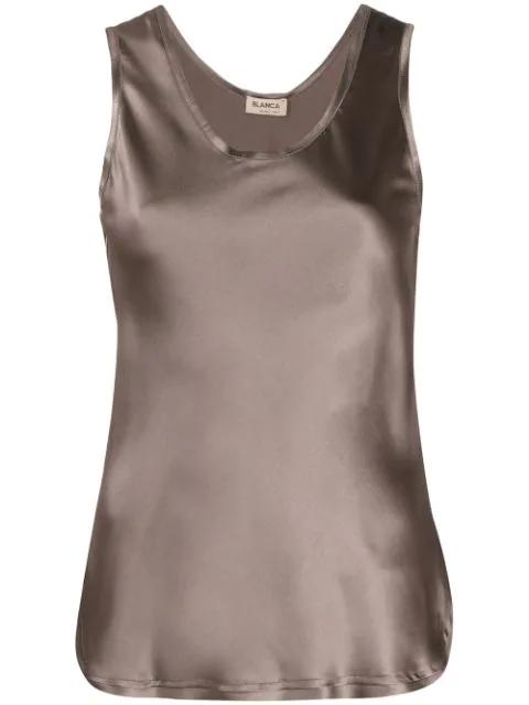 Blanca Scoop Neck Camisole In Brown