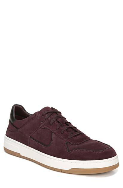 Vince Men's Mayer-2 Suede Sneakers With Contrast Piping In Deep Orchid