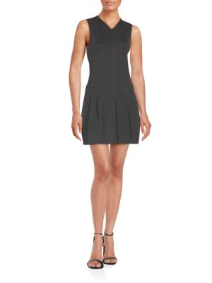 Vince V-Neck Pleated Sheath Dress In Charcoal