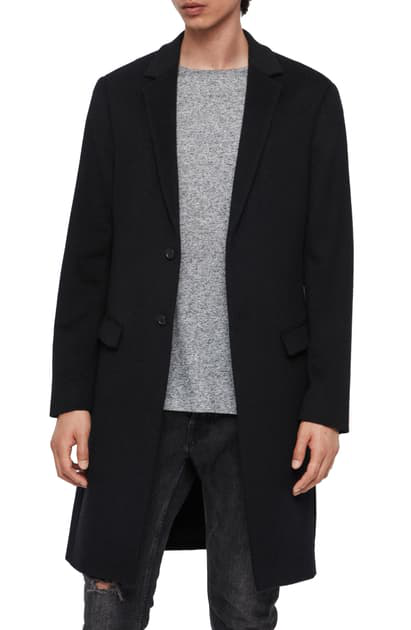 Allsaints Birdstow Wool Coat In Ink Navy